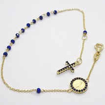 18K YELLOW GOLD ROSARY BRACELET, FACETED SAPPHIRE ROOT, CROSS, MIRACULOU... - $322.00