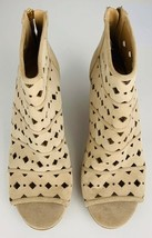 Michael Kors Womens Booties Beige Open Toe Wedge Heels Back Zipper Shoe ... - $29.81