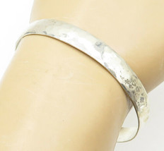 WILLIE LONG NAVAJO 925 Silver - Vintage Hammered Texture Cuff Bracelet -... - $33.19