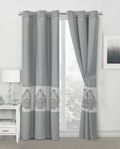 4-Pc Amelie Paisley Damask Floral Embroidery Curtain Set Gray Silver Sheer Liner - $40.89