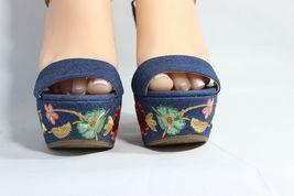 Jessica Simpson Divella Damen High Heels Offen Sandalen Denim Stickerei Größe 7 image 5