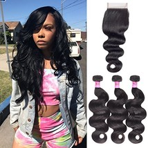 Body Wave Weave Brazilian Virgin Hair Bundles with Closure Unprocessed Brazilian image 1