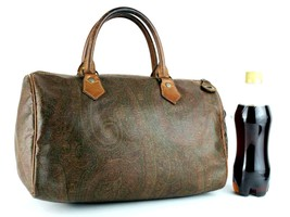 Auth ETRO Milano Paisley Canvas & Brown Leather Small Boston Bag Hand Ba... - $147.51