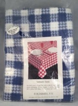 Vintage Tablecloth 50 x 88 Blue and White Normandy Checker Pattern 100% ... - $25.99