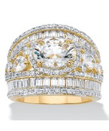 6.70 TCW Oval Cubic Zirconia Yellow Gold-Plated Engagement Ring - $59.99