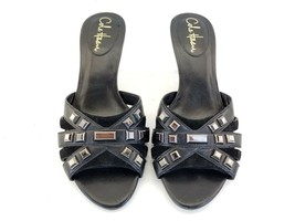 Cole Haan NikeAir Womens Black Leather Criss-cross stud Sandal Shoes  He... - $27.51