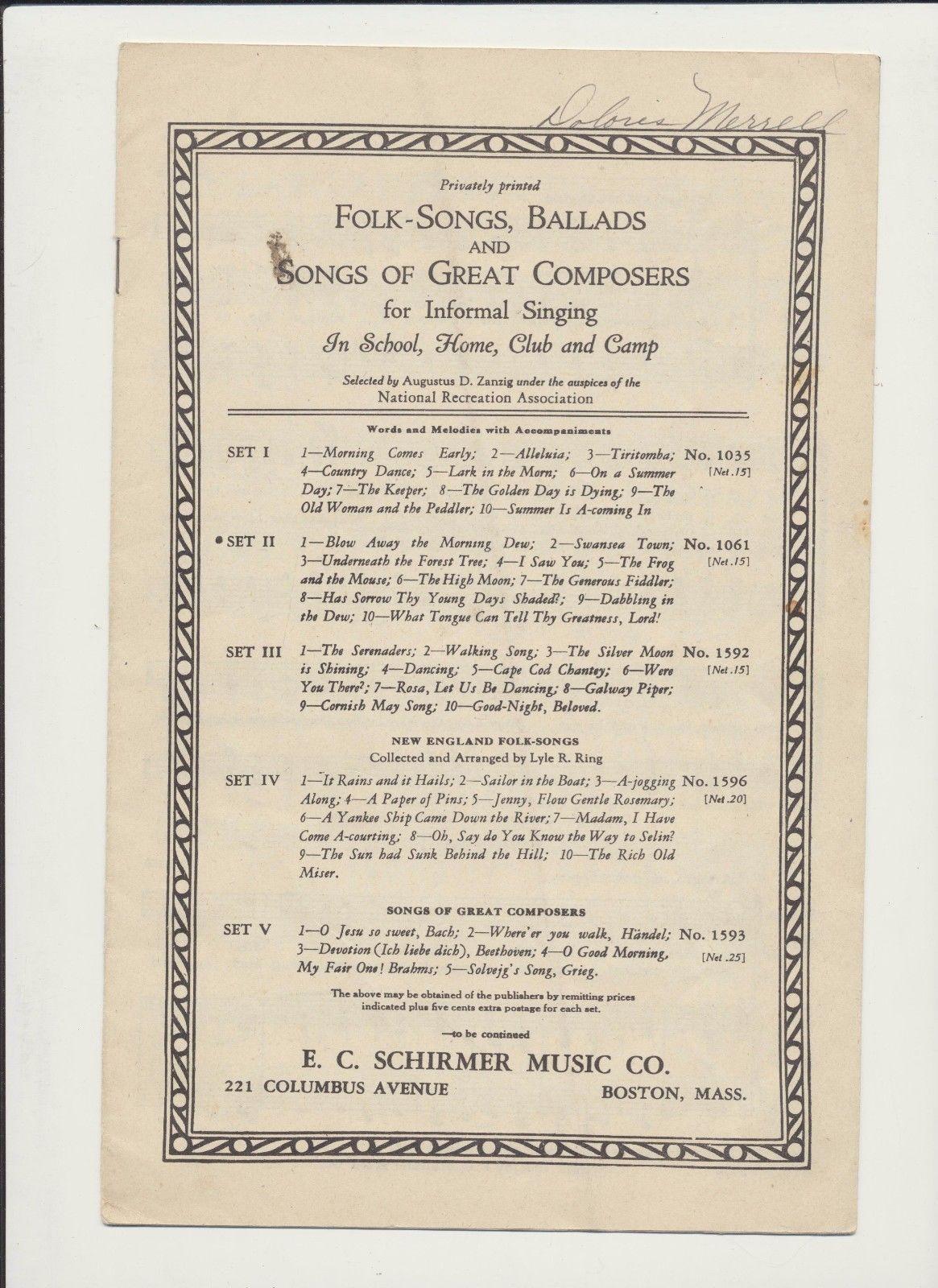 Lot Of 3 Folk Songs Ballads Ec Schirmer and 50 similar items