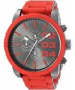 Men's Diesel Double Down Chronograph Watch Gray Dial Red Silicone Band D... - £131.70 GBP