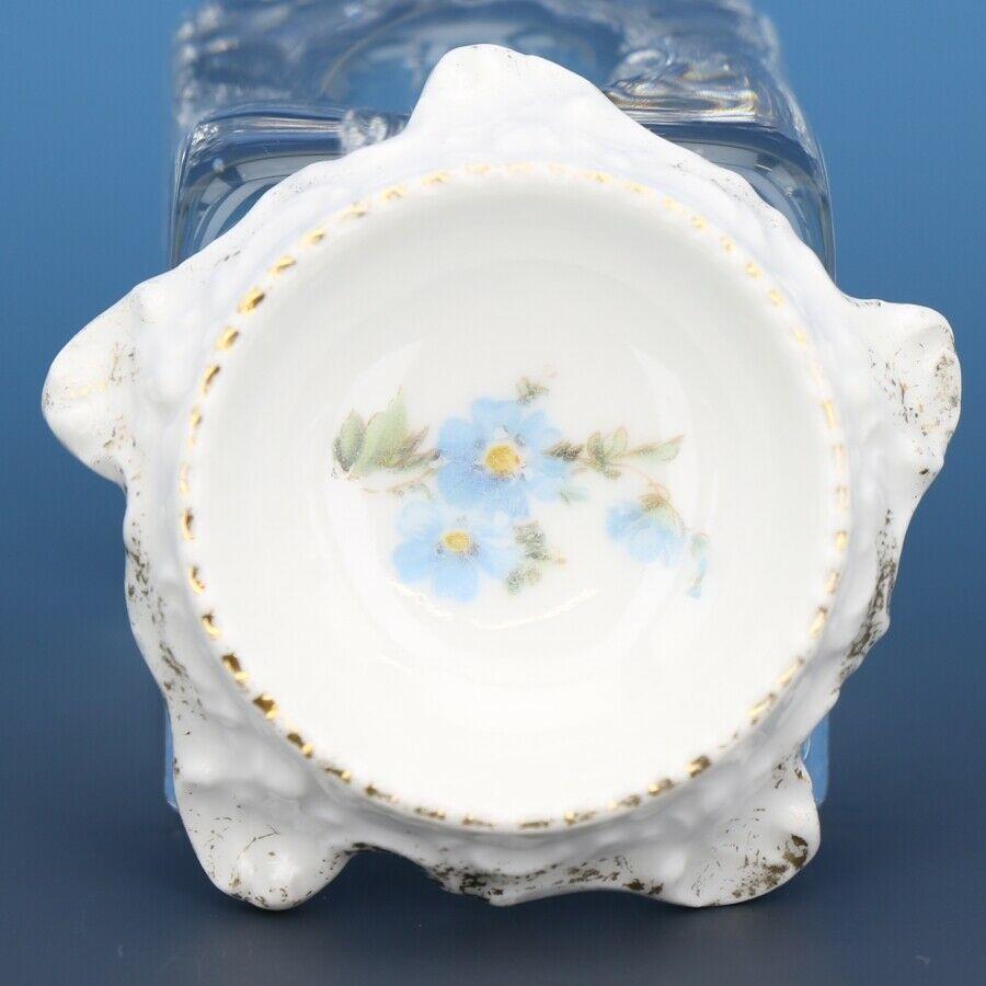 Antique Open Salt Dip Cellar Blue Floral Bavarian China Treetrunk