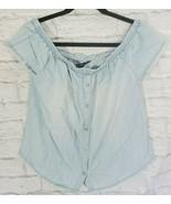 Velvet Heart Crop Top S Womens Baby Blue Elastic Neck Cap Off Shoulder S... - $10.19