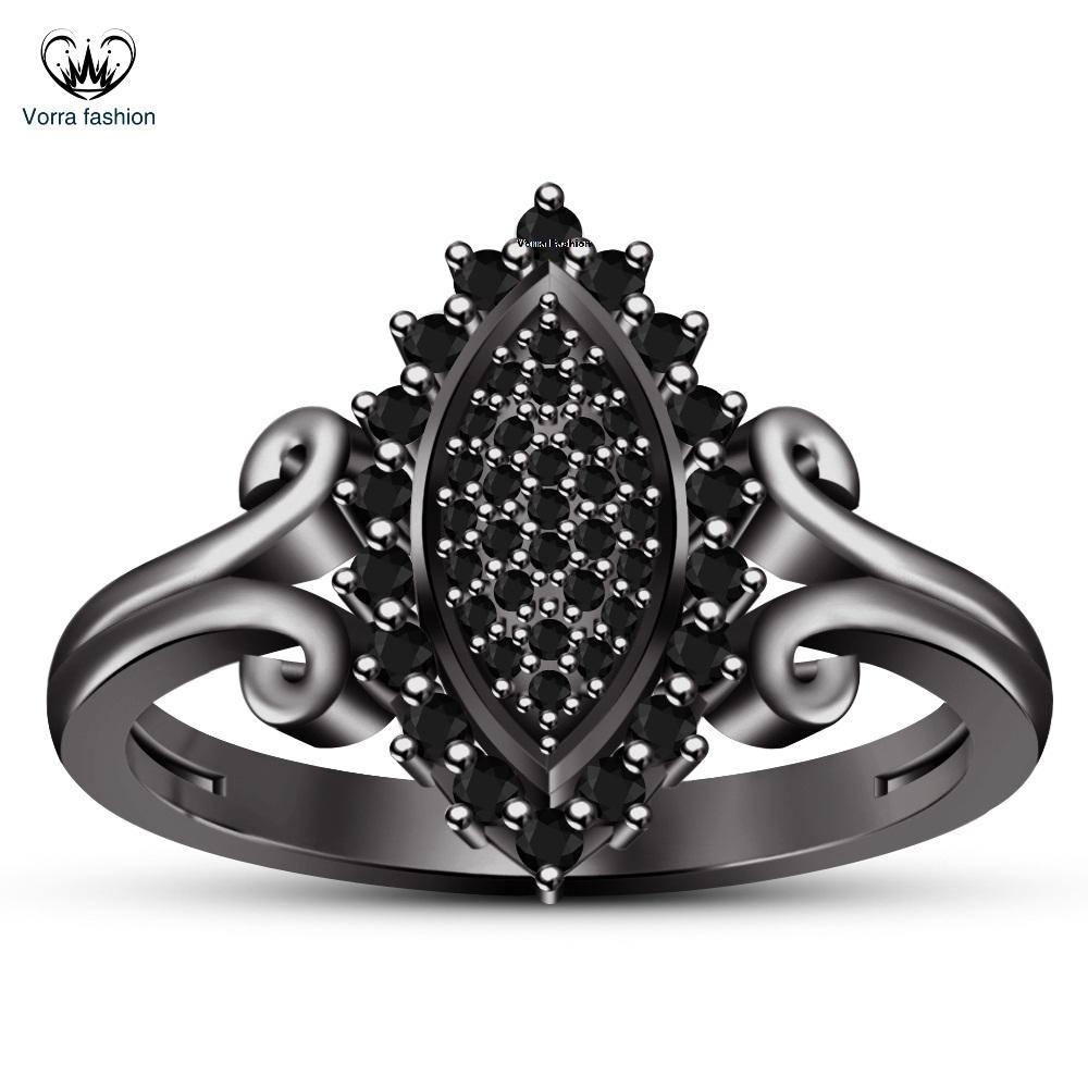 Black Gold Finish 925 Silver Round Cut Diamond Marquise Shape Engagement Ring