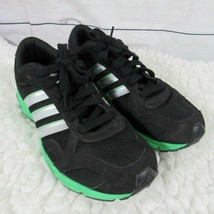 Adidas Running Shoes Mens 7.5 Black & Green Lace Up Sneakers Trainers - $32.51