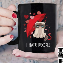 Grumpy Cat I Hate People Mug Funny Cat Lovers Black Ceramic 11oz Coffee Cup - ₹1,004.06 INR+