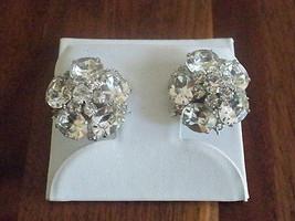 Vintage 50's-60's Clear Rhinestone Cluster Coro Clip Earrings - $48.51