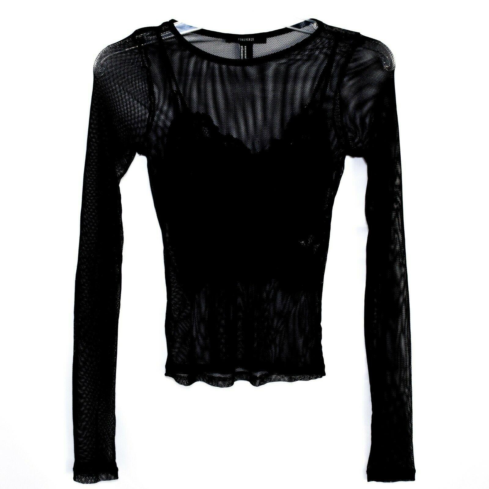 Forever 21 00211628 Women's 2-Part Mesh Long Sleeve Top w Lace Tank Insert Sz M