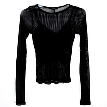 Forever 21 00211628 Women's 2-Part Mesh Long Sleeve Top w Lace Tank Insert Sz M image 1