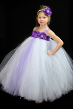 White and Purple Flower Girl Dress, White Tutu, Purple Flower Tutu - $50.00+