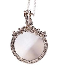 Fashion Magnifying Glass Necklace Flower-Shaped Hanging Jewelry, Silver - $19.35