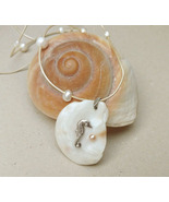 Seahorse necklace fine silver, shell pendant, pearl necklace, sea jewelry - £44.75 GBP