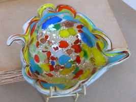 Mid-Century Italian Murano Multicoloured Glass Leaf Bowl Art Glass C.50's - 60's - $100.00