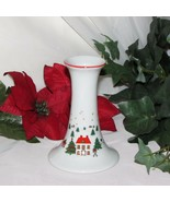 CHRISTMAS CANDLE HOLDER PORCELAIN CANDLESTICK WINTER SCENE SNOWMAN JAPAN... - $6.88