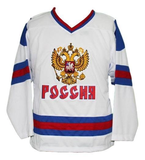 Alex ovechkin  8 team russia hockey jersey white   1