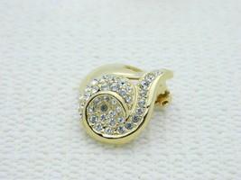 VTG GIVENCHY Paris New York Gold Tone Rhinestone Heart Clip Earrings image 2