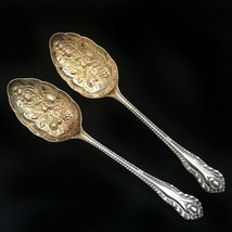 WILLIAM ADAMS - 2 Gold Wash Silverplate Berry Spoons Set - Sheffield Eng... - $29.99