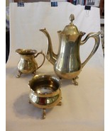 3 Piece Polished Brass Tea Set from India, Tea Pot, Sugar, Creamer - $148.50