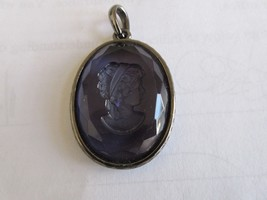 "Cameo Pendant , 1 1/2"" X 2"" X 1/4"" , Purple / Blue Color - $19.80"