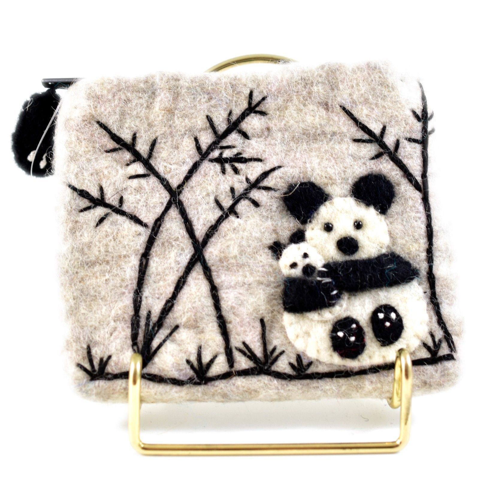 Wild Woolies Handmade Felted Wool Panda Family Coin Purse Bag Made in Nepal