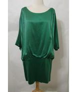 LAUNDRY By Design Mini Dress Green 100% Silk Dolman Sleeve V & Bias Cut ... - $161.99