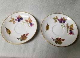 Set 2 Royal Worcester Evesham Bread Butter Dessert Plates Gold Tea Cup Fall Leaf - $13.57