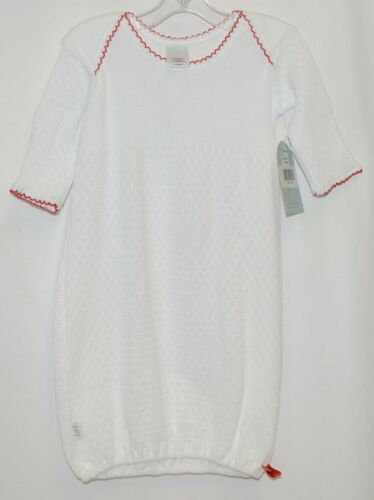 Paty Inc 1153R Long Sleeve Lap Shoulder Gown White With Red Trim Size 3 Months