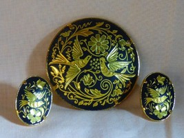 Vintage 1960s Damascene Round Pin & Earrings Flowers Birds - $55.00