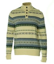 Tommy Hilfiger Men's Ivory Pearl Fair Isle Mock-Neck Knit Pullover Sweat... - €47,12 EUR