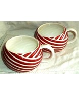 STARBUCKS  Coffee Mugs (2) 2013 Ball Yarn Wool Ribbon Stripe Red & White... - $37.99