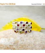 MultiColor Gemstone Ring Multistone Ring Birthstone Jewelry Sterling Sil... - $72.00