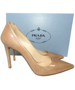 Prada Beige Patent Leather Classic Pointy Toe Pumps Shoes 38.5 Heels - $299.00