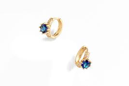 Mona Earrings 18 karat gold plated hoopwith diamonice crystals - $38.00