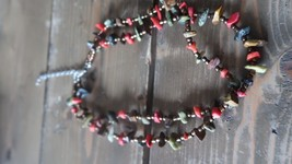 Vintage Jade and Coral Artisan Southwestern Necklace 16.5 - 20 inches - $16.82