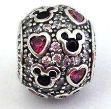Auténtico Pandora Disney Brillante Mickey y Corazones Charm 791457CZ,Nuevo - $69.81