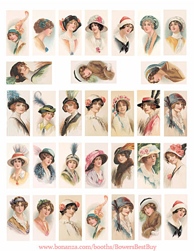 vintage flapper girls hat fashion domino collage sheet clipart digital download