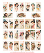 vintage flapper girls hat fashion domino collage sheet clipart digital d... - $3.99