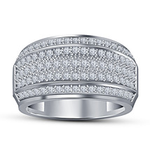 14k White Gold Over 925 Solid Silver Simulated Diamond Wedding Anniversa... - £77.11 GBP