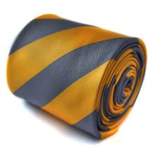 Frederick Thomas Yellow & Grey Blue Barber Stripe Mens Tie RRP£19.99 FT1449