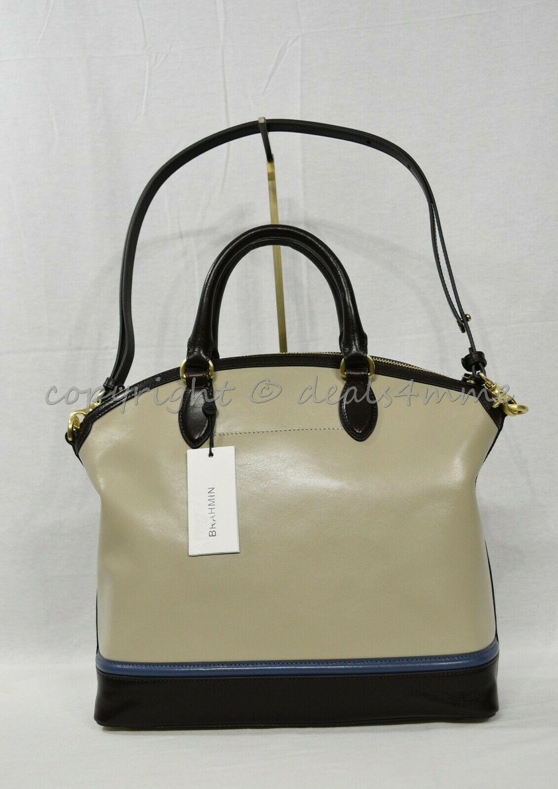 NWT Brahmin Large Duxbury Smooth Leather Satchel/Shoulder Bag in Sand Westport image 3