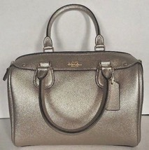 New Coach F21508 mini Bennett Satchel Leather handbag Metallic Platinum - $123.70