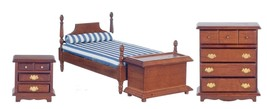 Dollhouse Miniature Bedroom Set, 4 pc, Walnut Finish #T0504 - $47.69