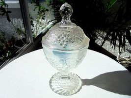 Anchor Hocking Grape & Leaf Clear Covered Candy Dish c1940's - $34.64